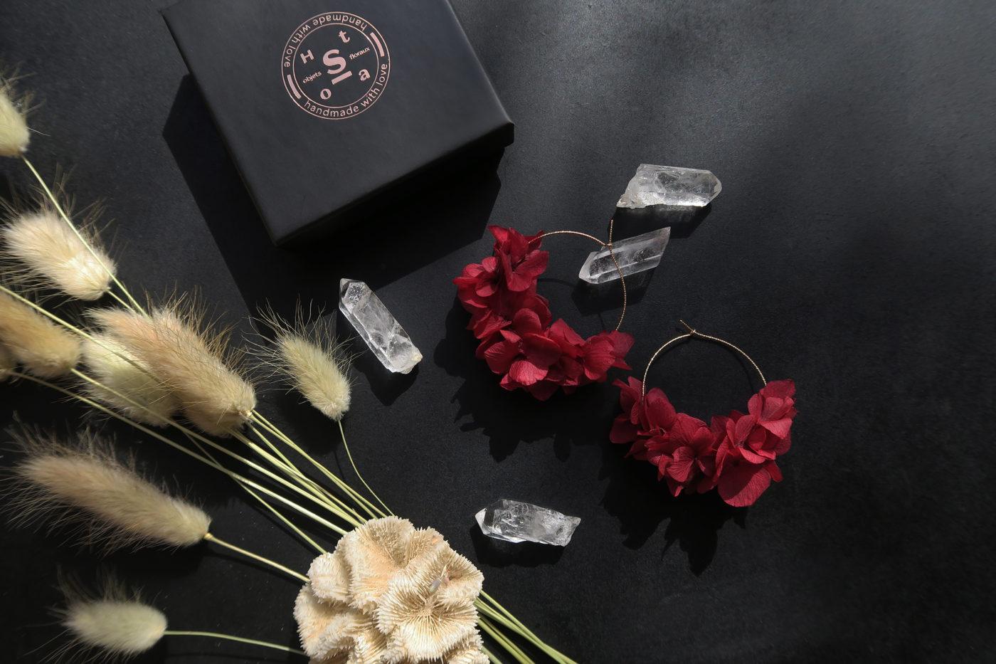 créoles en hortensia stabilisé fleurs séchées