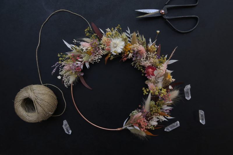 couronne de fleurs séchées champêtre