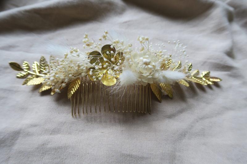 peigne laiton fleur séchées