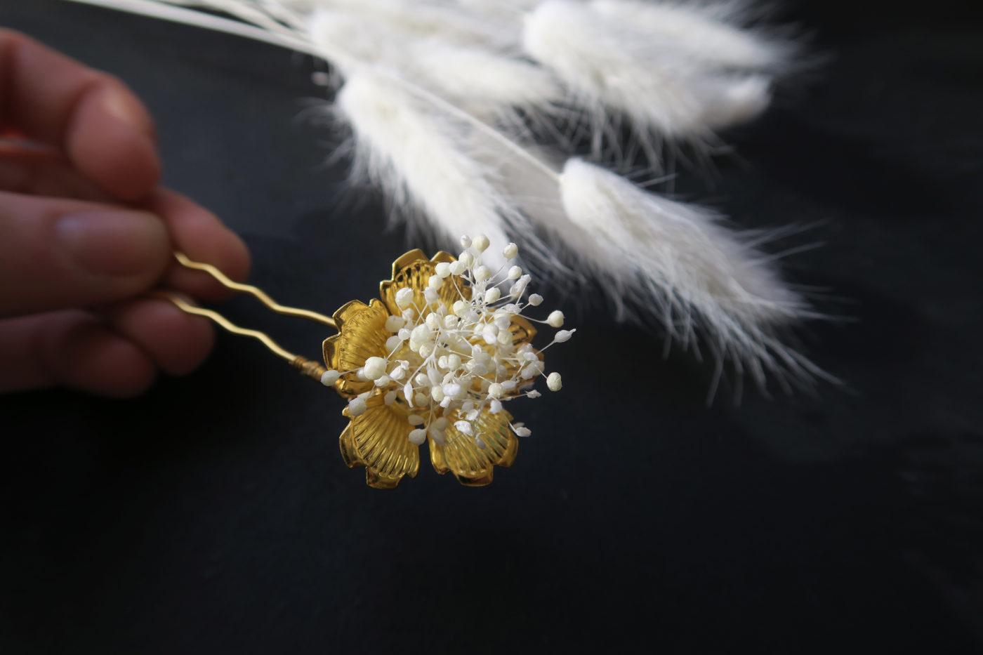 barrette doré pour mariée bohème