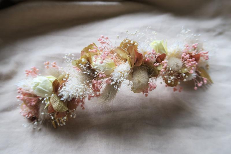 double peigne de fleurs séchées et stabilisées