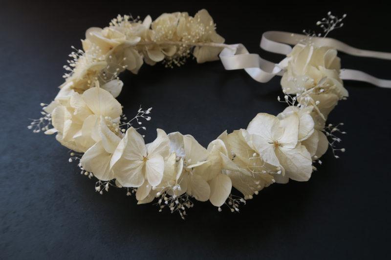 couronne de fleurs d'hortensias