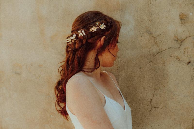 barrette mariée pierre semi precieuse et fleurs séchées