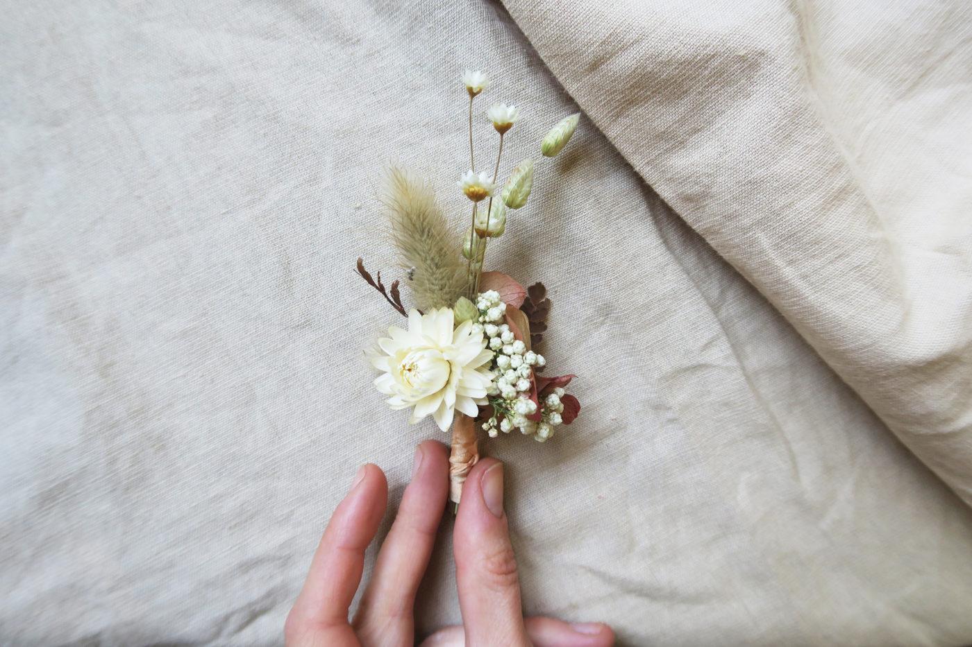 boutonniere fleurs séchées
