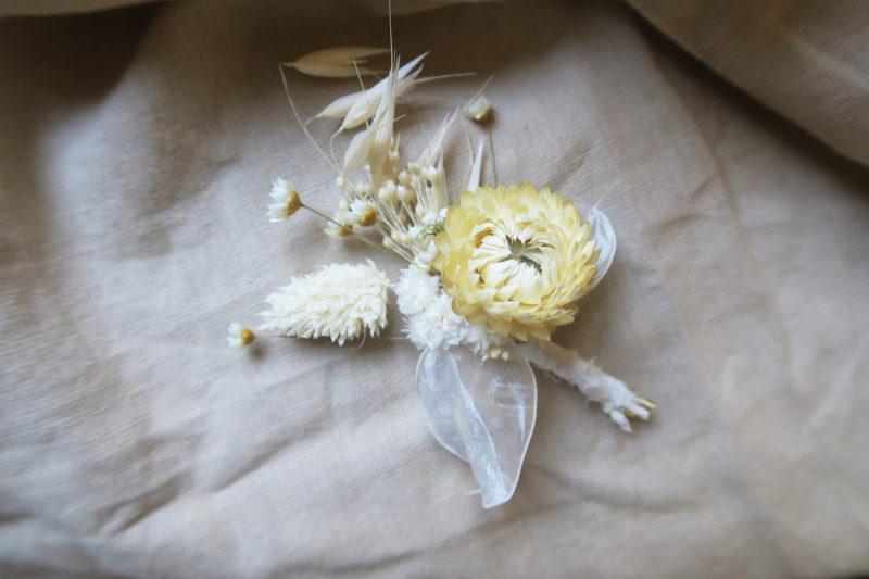 boutonniere alphonse blanche fleurs séchées