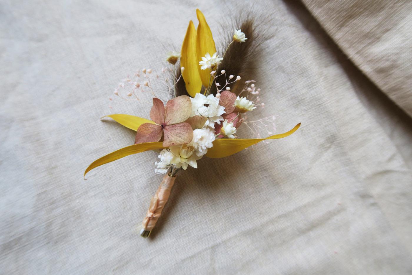 boutonnière mariage fleurs séchées