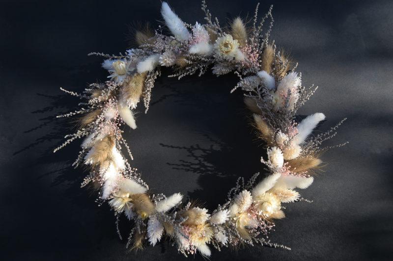 couronne pastel fleurs séchées