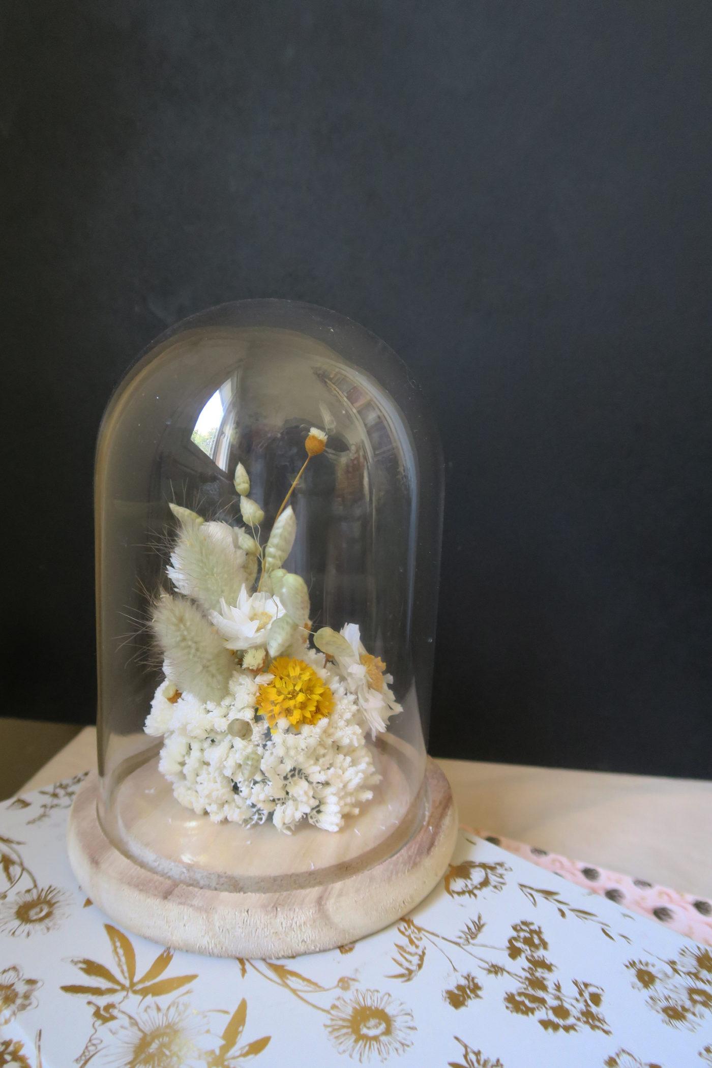 cloche de fleurs séchées solal