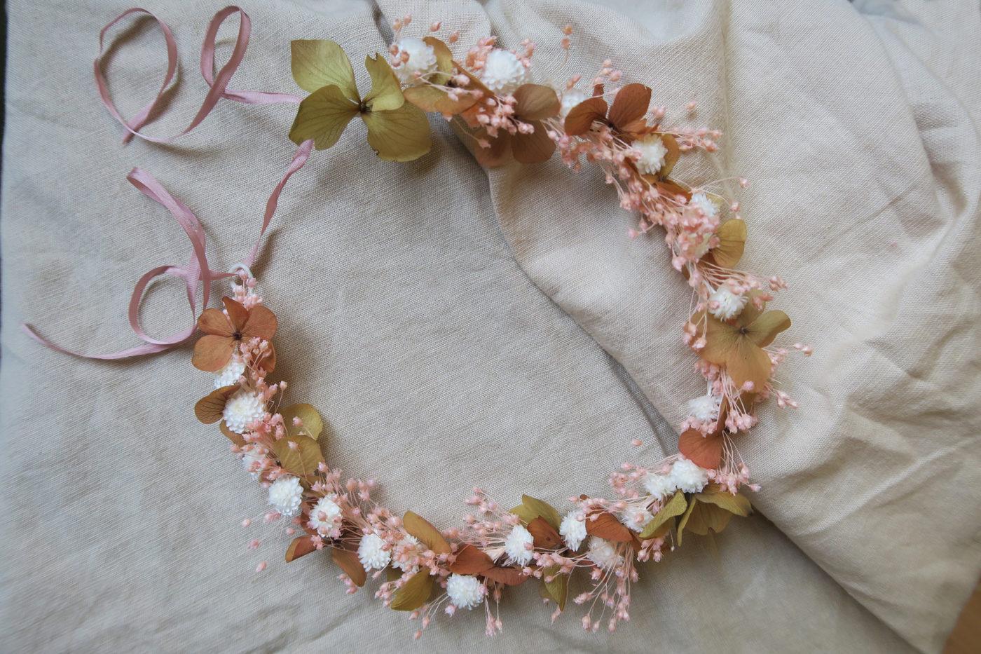 couronne de fleurs séchées mariée bohème