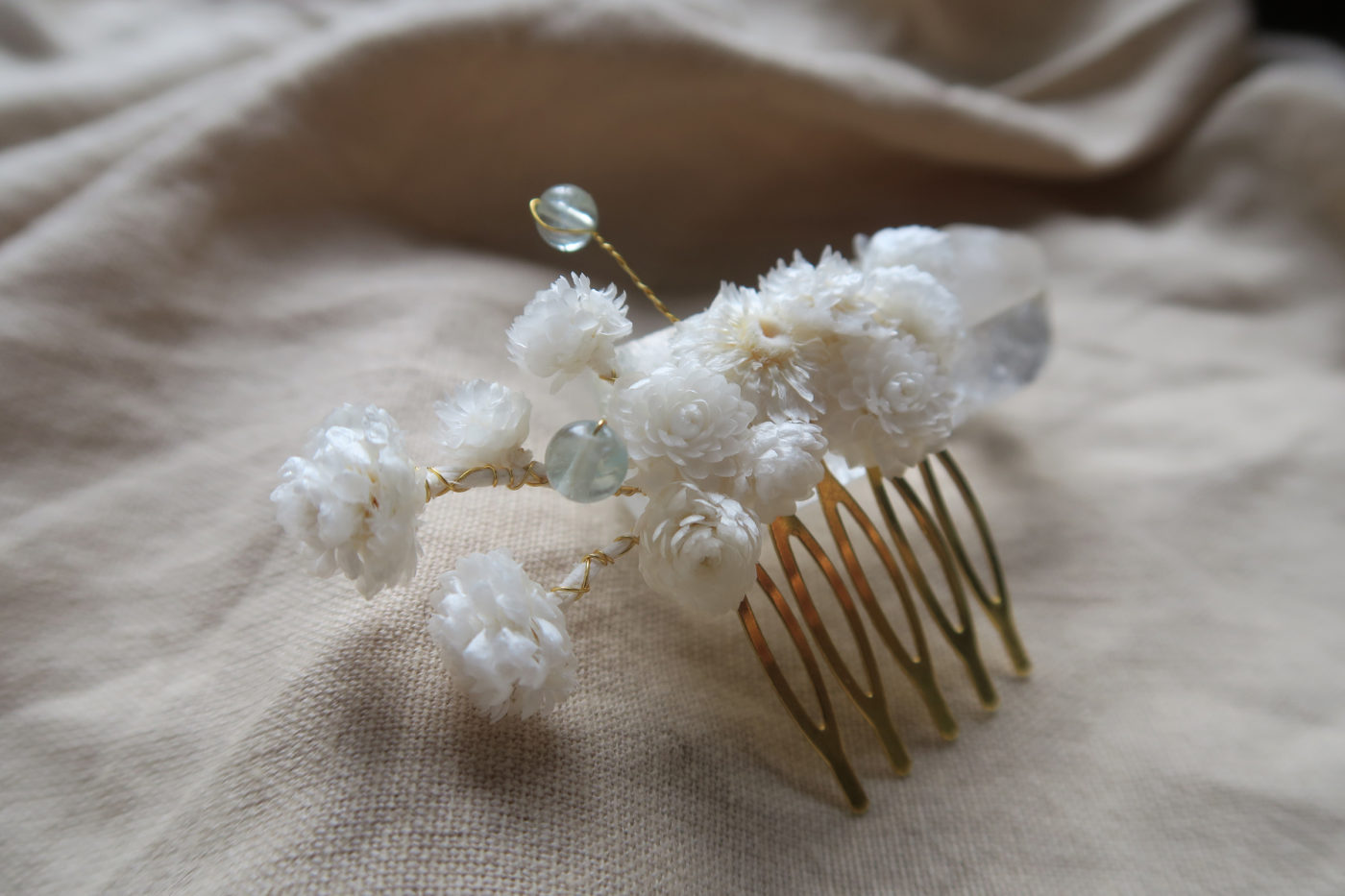 peigne immortelles blanche