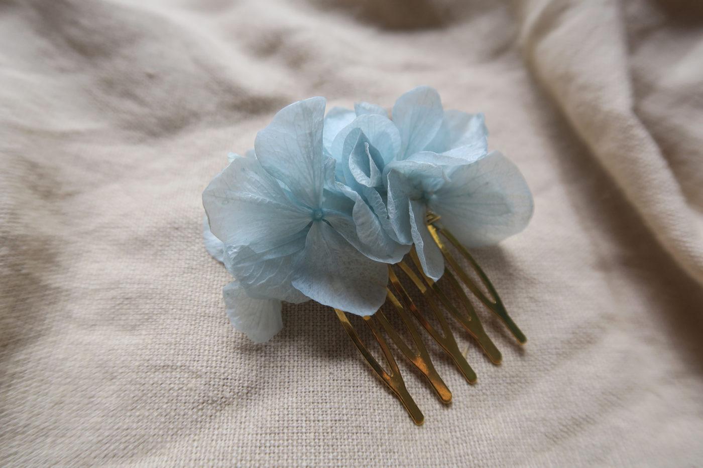 peigne hortensia stabilisé bleu