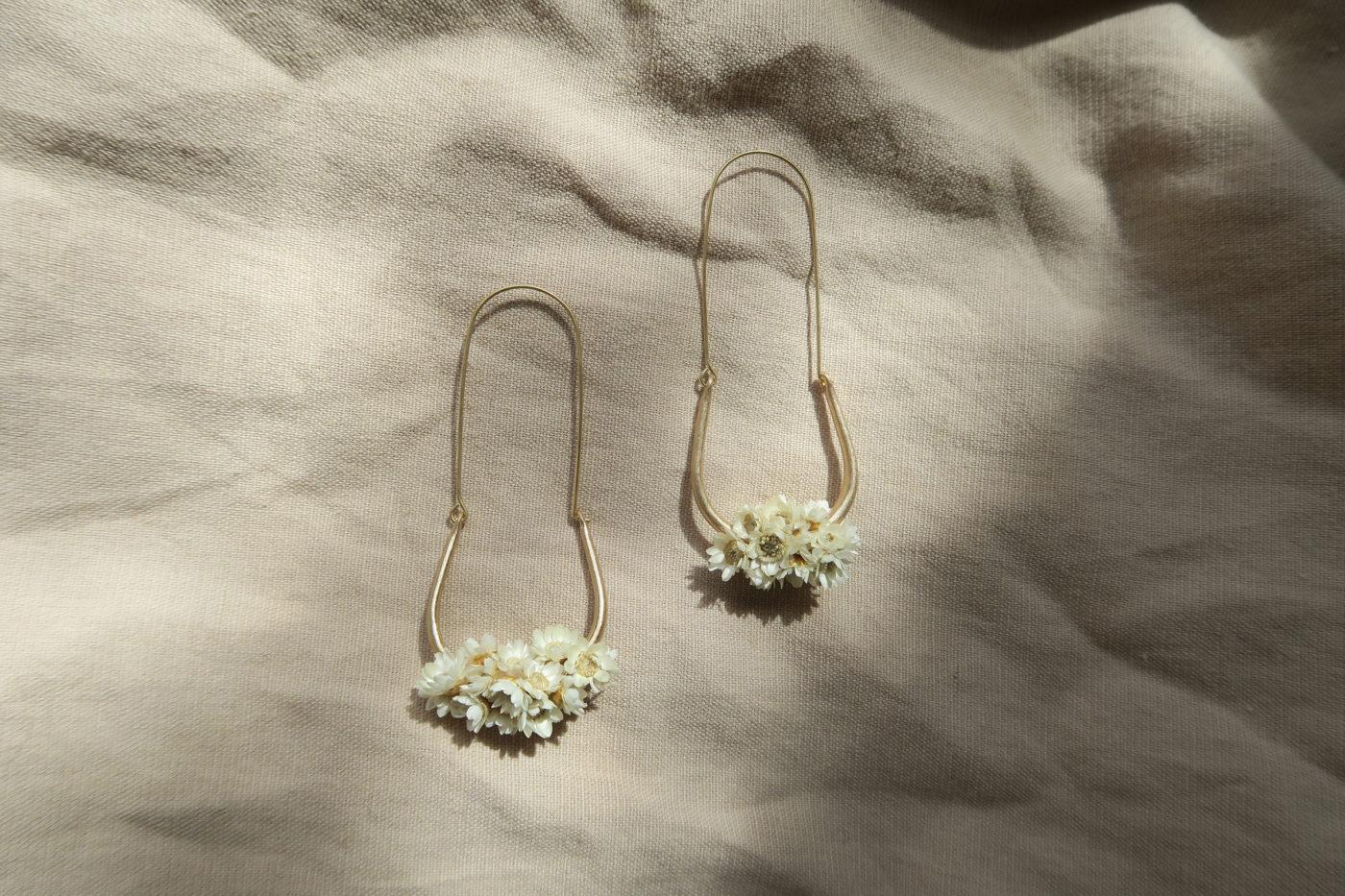 boucle d'oreilles fleurs séchées mariage bohème
