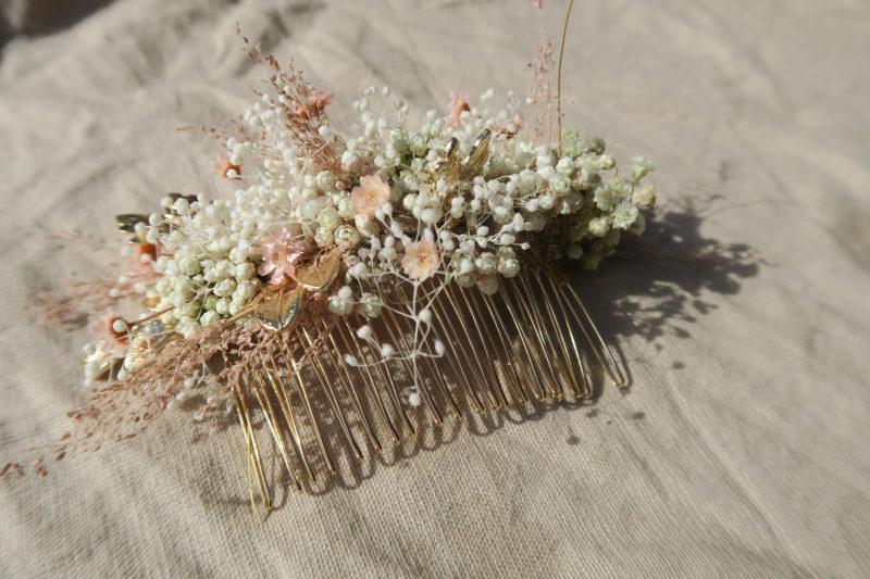 peigne laiton doré fleurs séchées