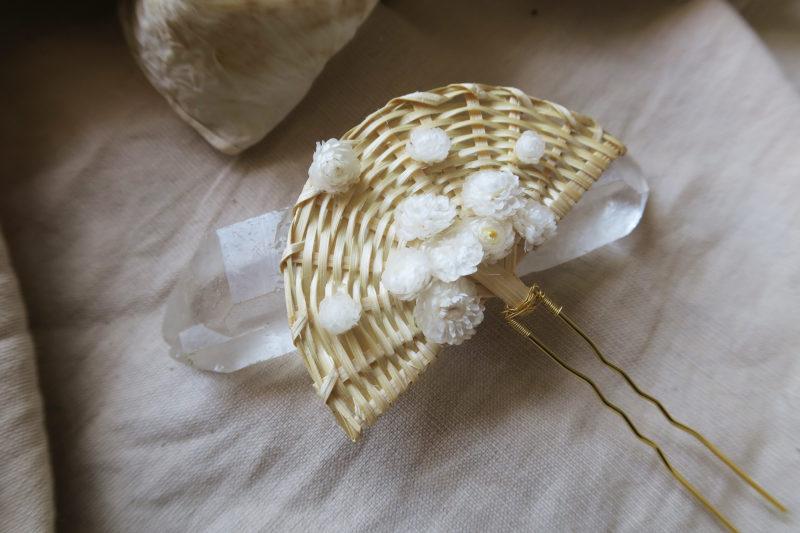 barrette osier et fleurs séchées