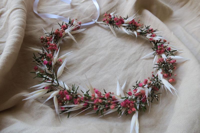 couronne de fleurs séchées gypsophile