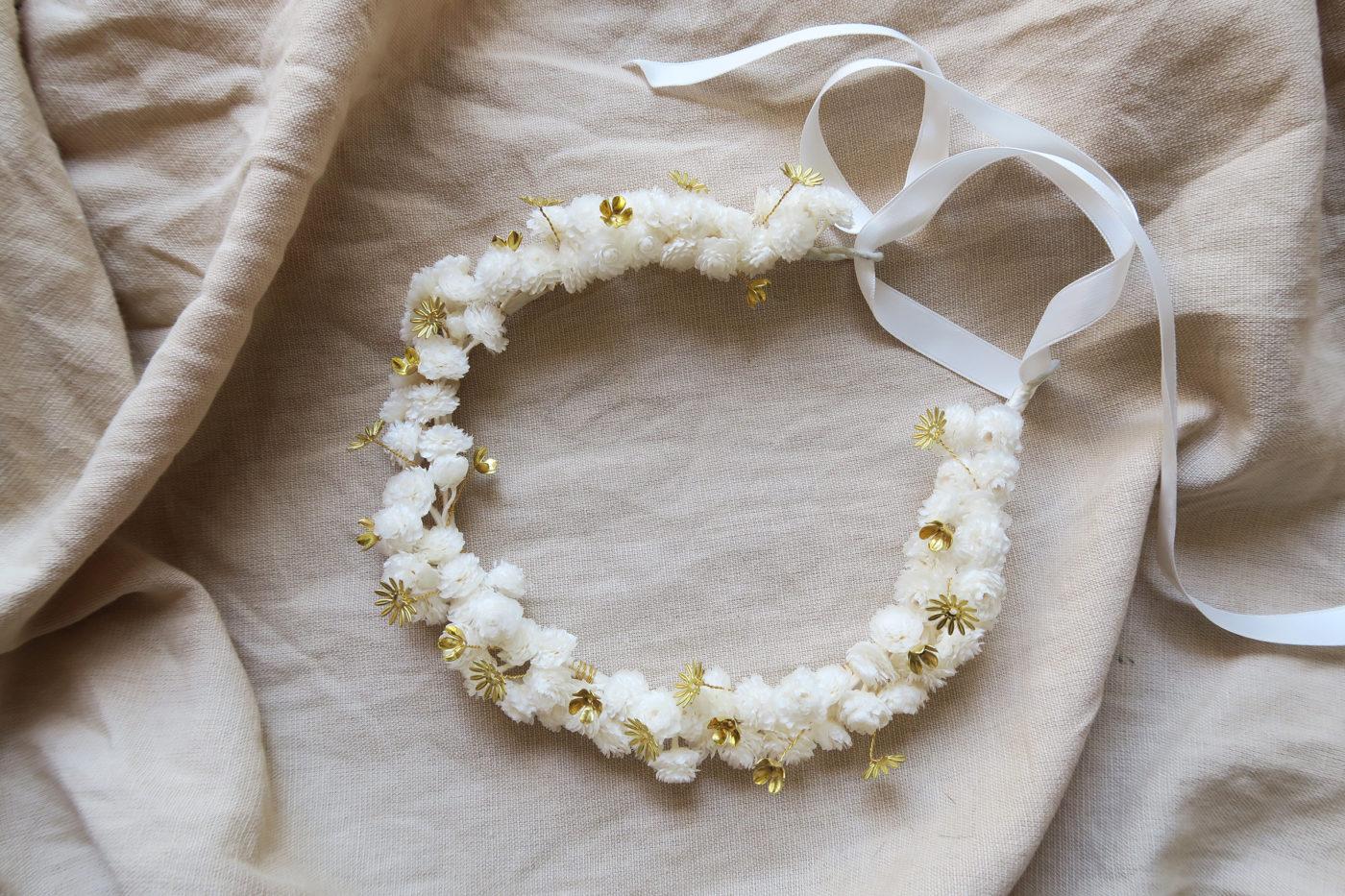 couronne de mariée bohème folk