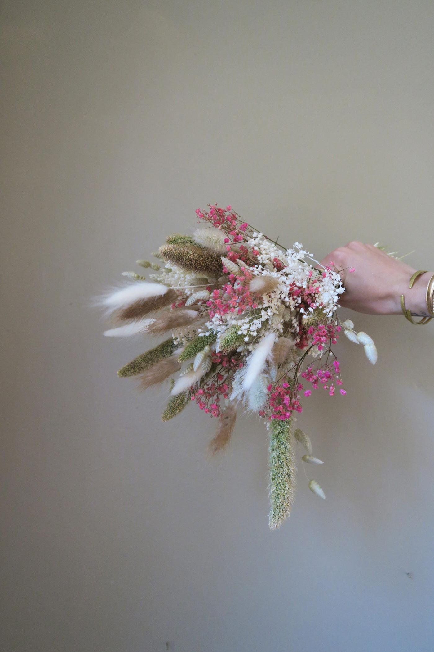 bouquet fleurs séchées tendre