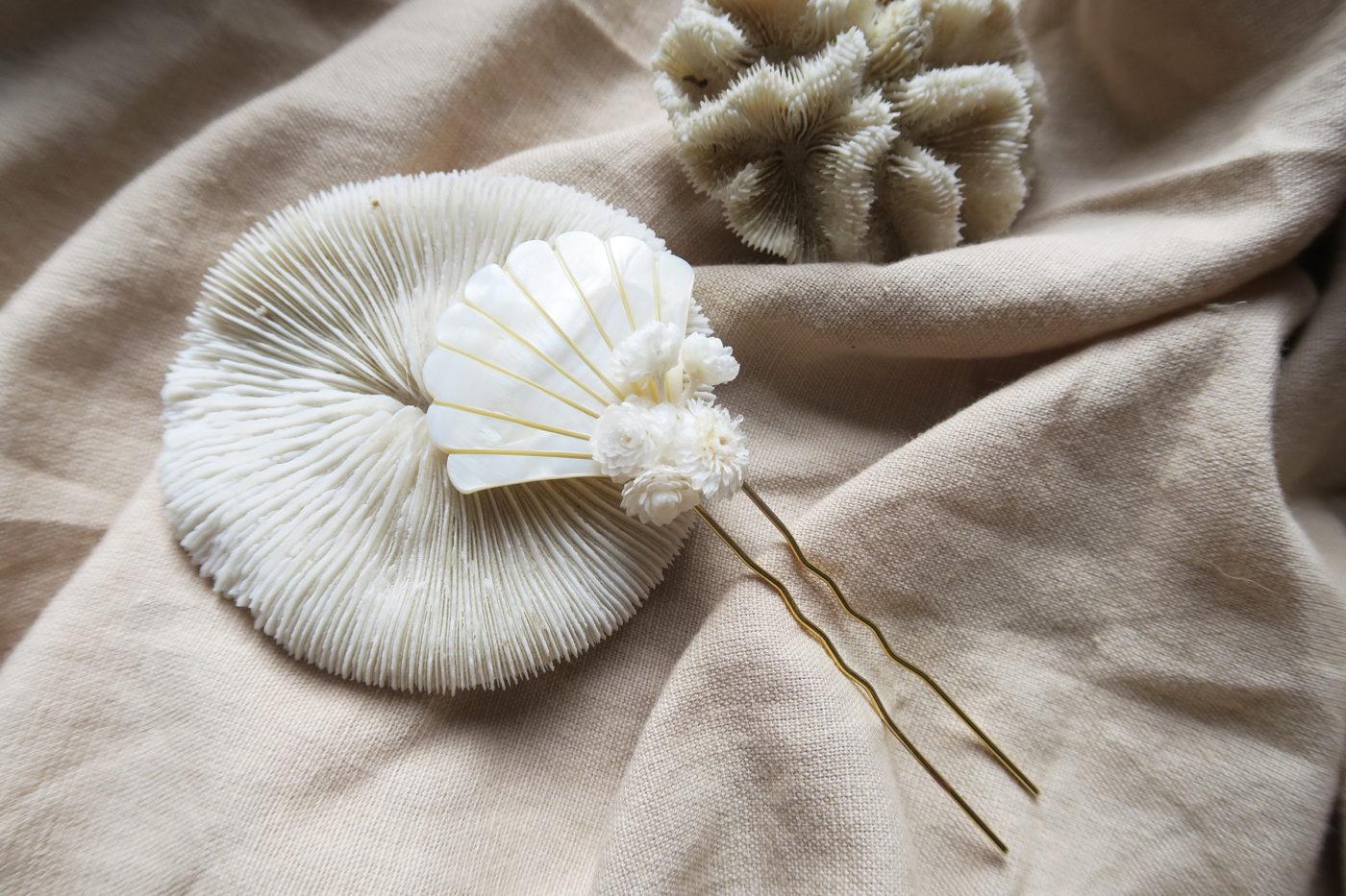 barrette venice blanc nacre