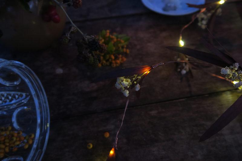 guirlande lumineuse fleurs sechees