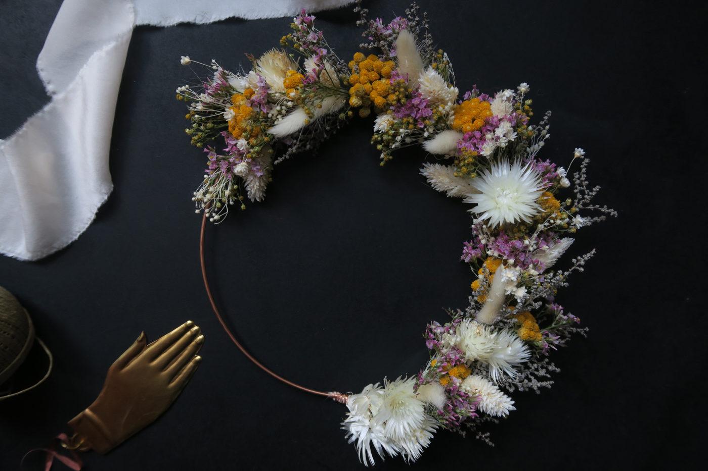 couronne flora fleurs séchées