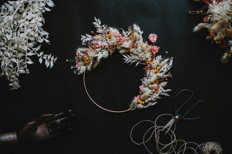 couronne murale decoration fleurs séchées