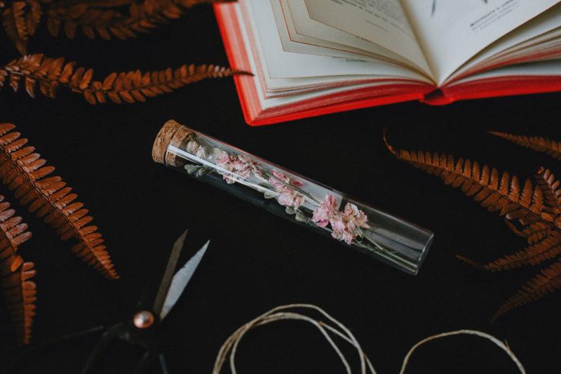 fiole herbier fleurs séchées rose