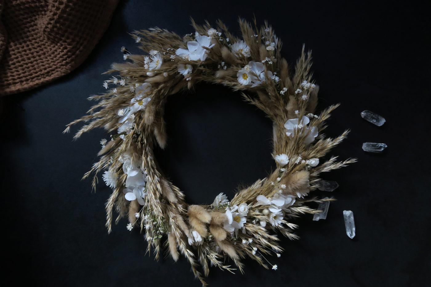 couronne de fleurs séchées pampa