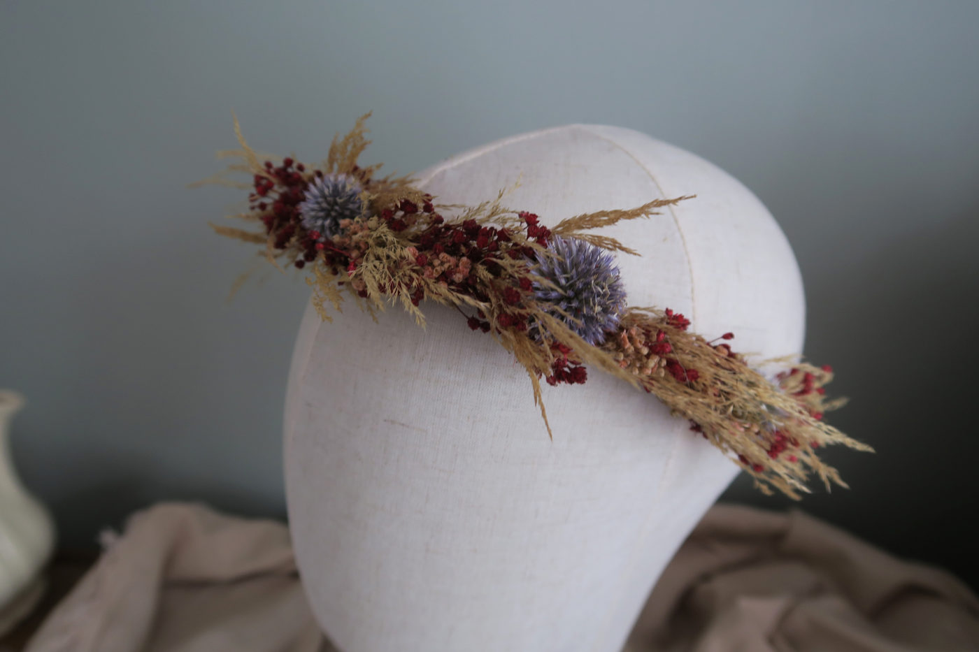couronne de mariée avec chardons