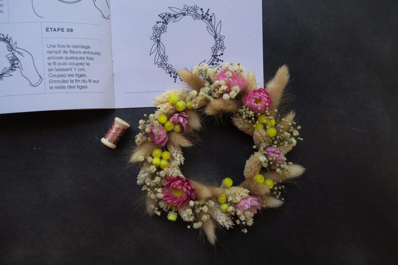 kit diy atelier manuel créatif fleurs séchées tutoriel couronne décoration murale toulouse fleuriste